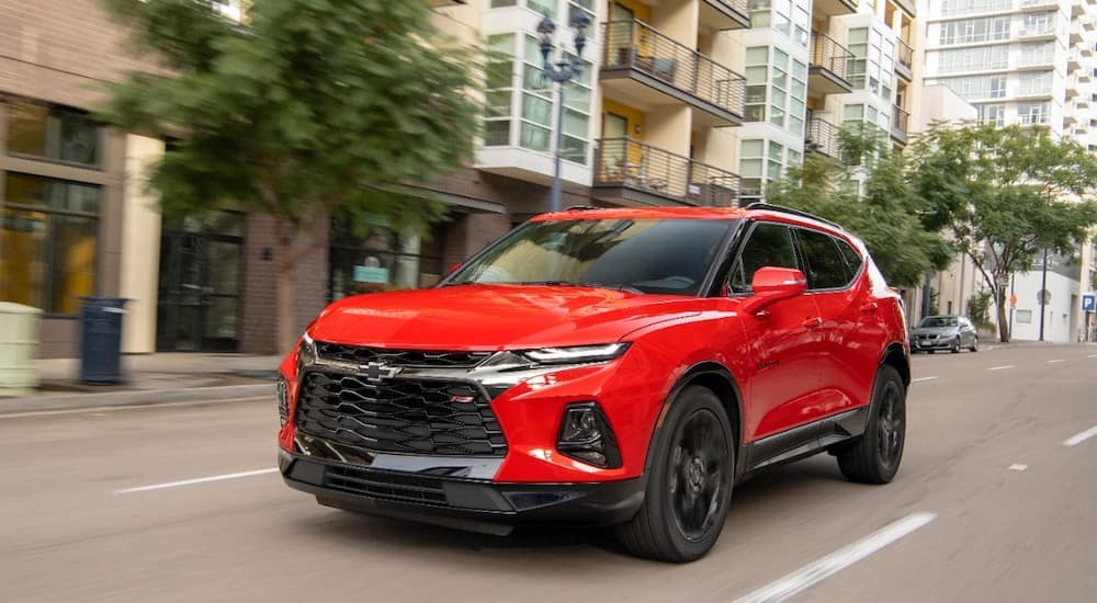 A bright red 2019 Chevy Blazer cruises the streets of Bethlehem PA