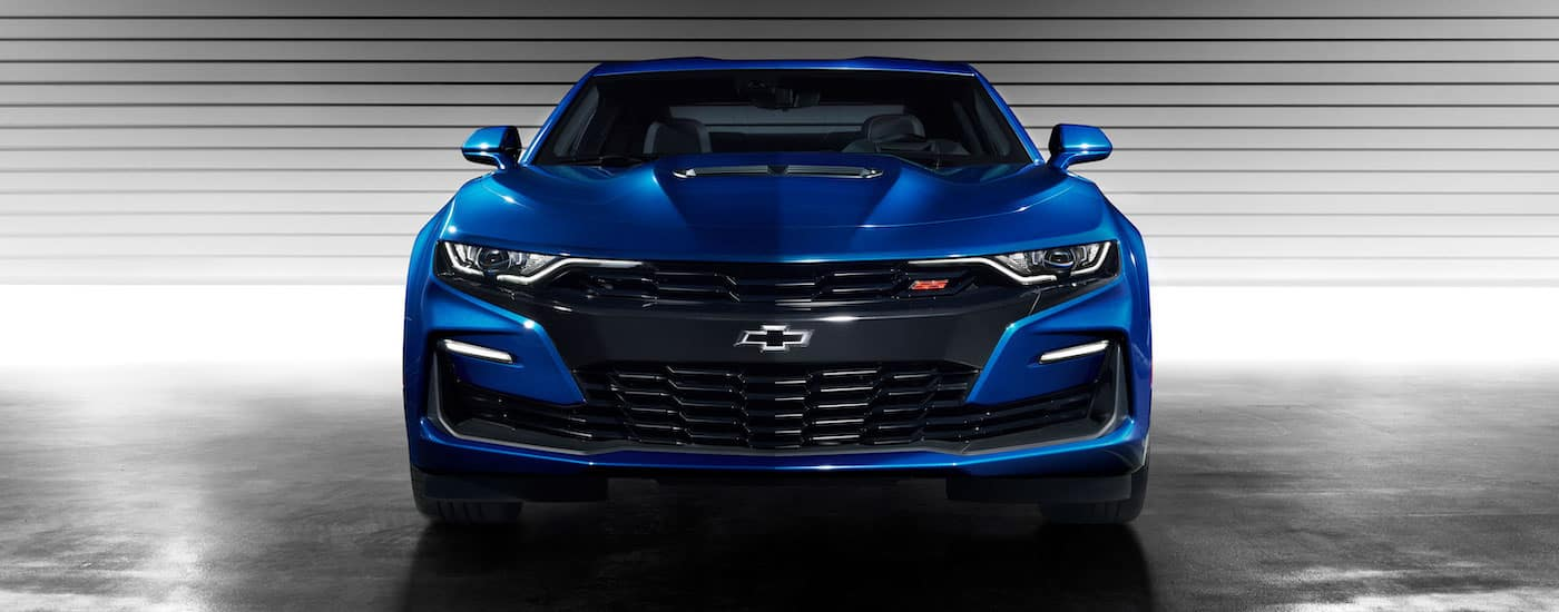 A deep blue high performance Chevy Camaro from a local PA Chevy Dealer near me is shown.