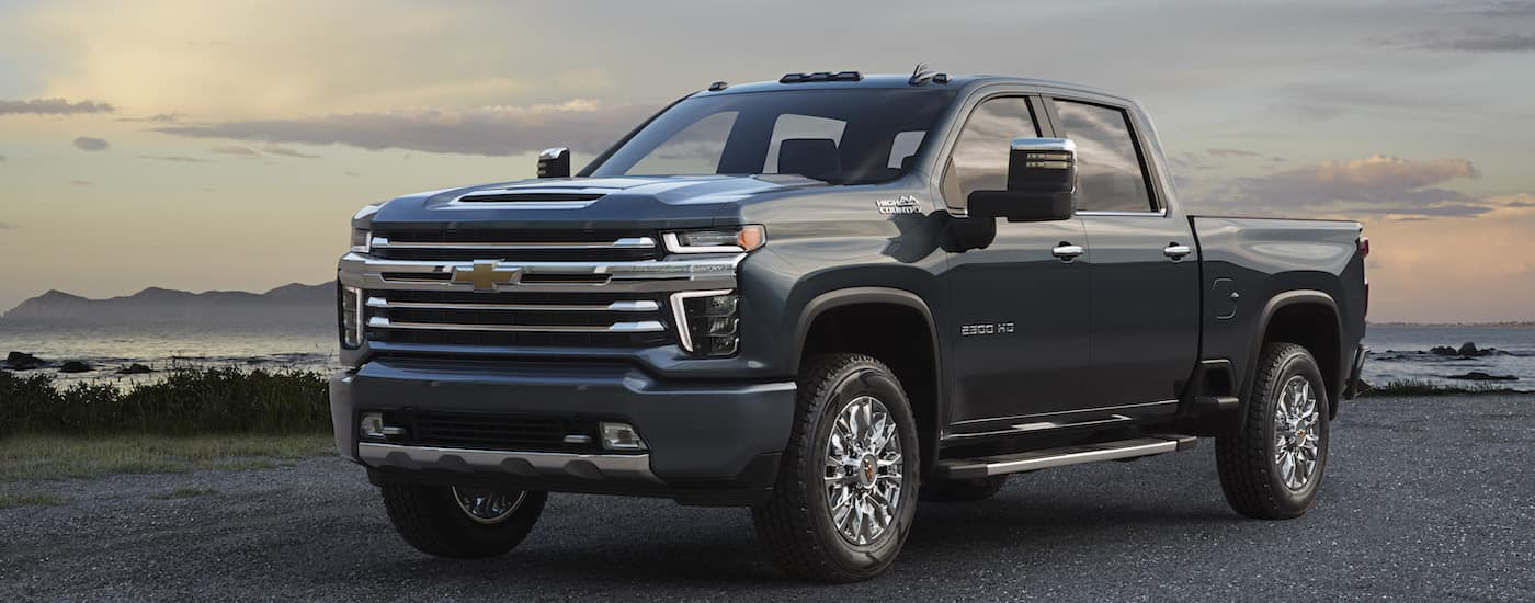 A blue 2020 Chevy Silverado 2500HD from a local Chevy dealer in PA is shown