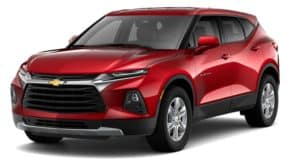 A red 2019 Chevy Blazer is facing left.