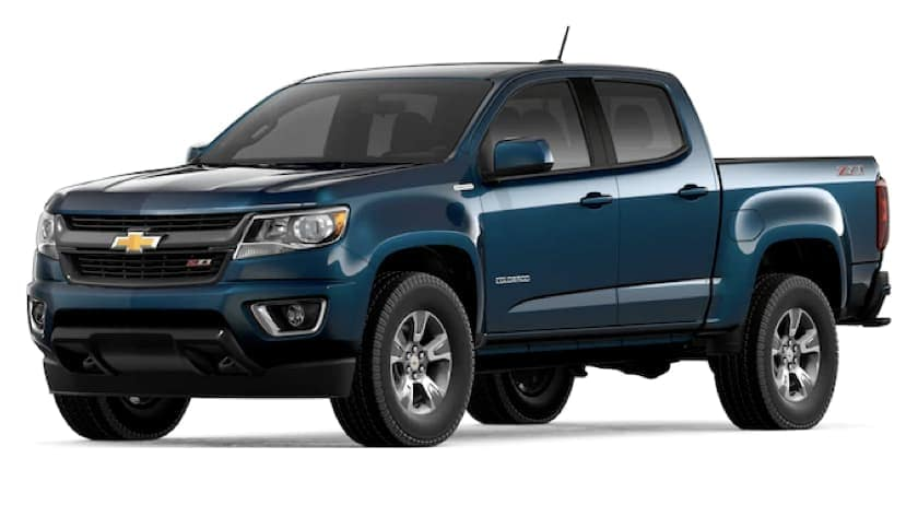 A blue 2019 Chevy Colorado is facing left.