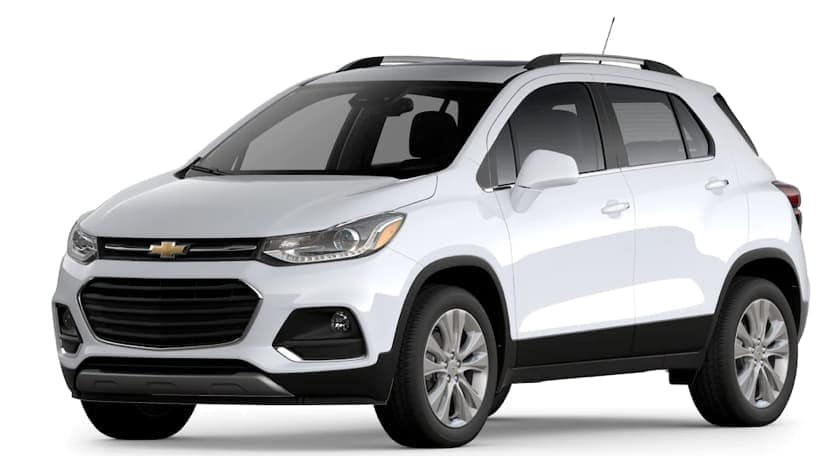 A white 2020 Chevy Trax is facing left.