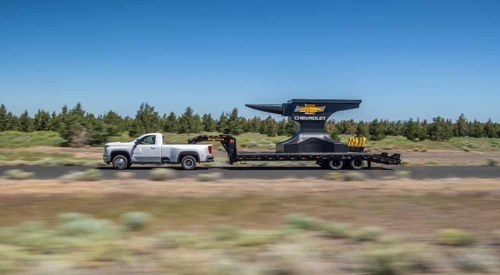 "A 2020 Silverado 3500 HD is towing, something you want to consider when asking yourself '1500 vs 2500 and asking, ""Do I need a Super Duty?', a large trailer."