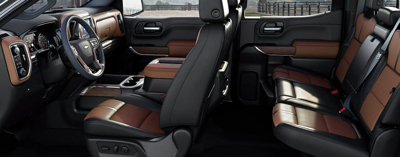 The interior of a 2019 Chevy Silverado, which wins when comparing the 2019 Chevy Silverado vs 2019 Ford F-150, is shown while parked in Bethlehem, PA.