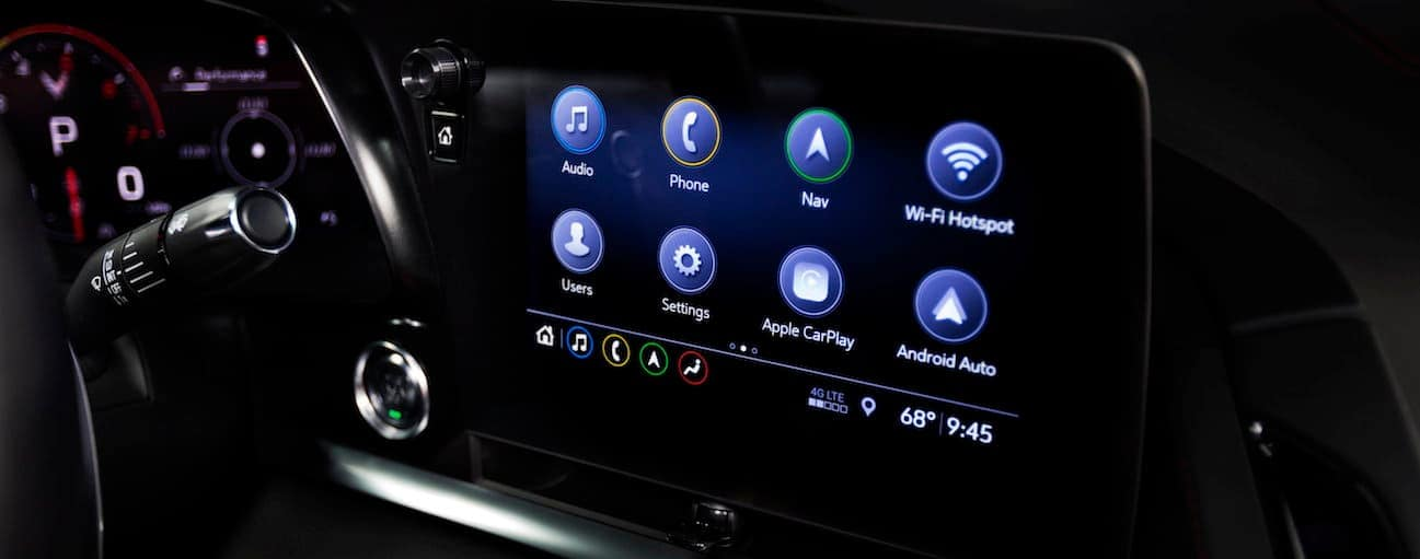 A close up of the 2020 Chevy Corvette touch screen,