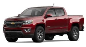 A red 2020 Chevy Colorado is facing left.