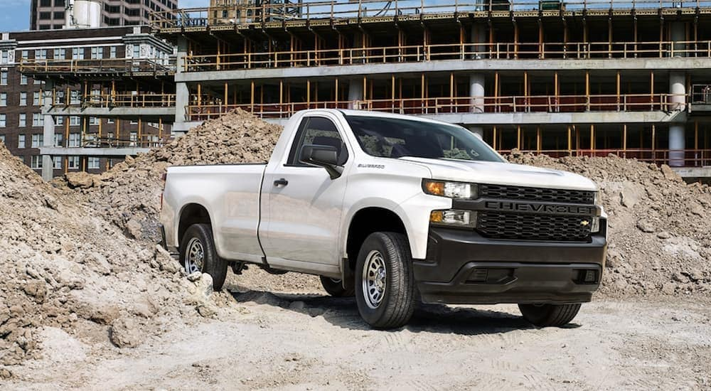 A white 2020 Chevy Silverado regular cab is parked at a work site near Bethlehem, PA.