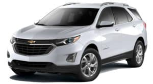 A white 2020 Chevy Equinox is facing left.