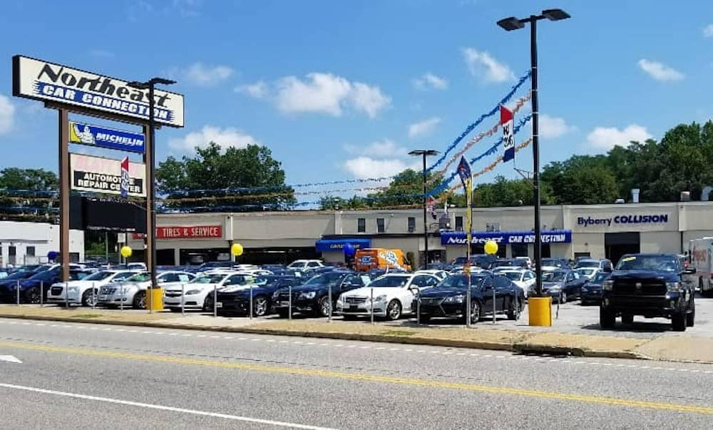 A used car dealership on a sunny day