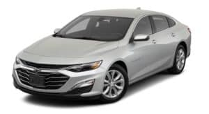 A silver 2020 Chevy Malibu is angled left on a white background.