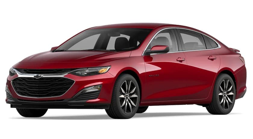 A red 2020 Chevy Malibu is angled left on a white background.