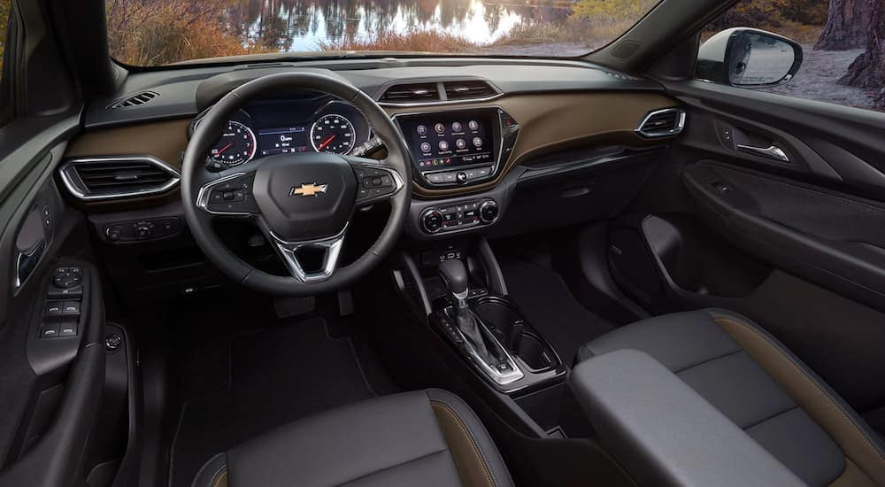 The black and brown interior of a 2021 Chevy Trailblazer is shown.