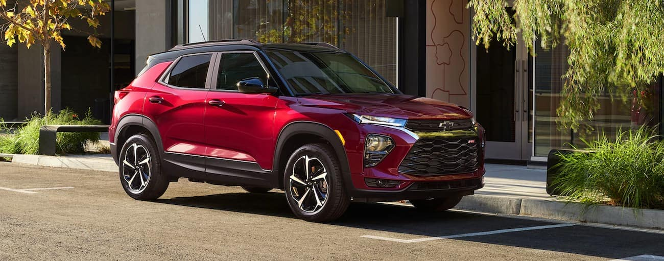 A red 2021 Chevy Trailblazer RS is parked on a city street near Bethlehem, PA.