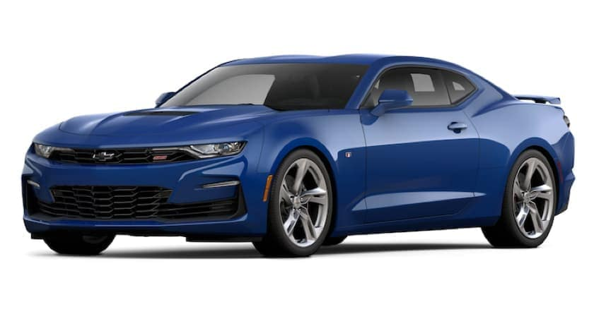A blue 2021 Chevy Camaro is angled left.