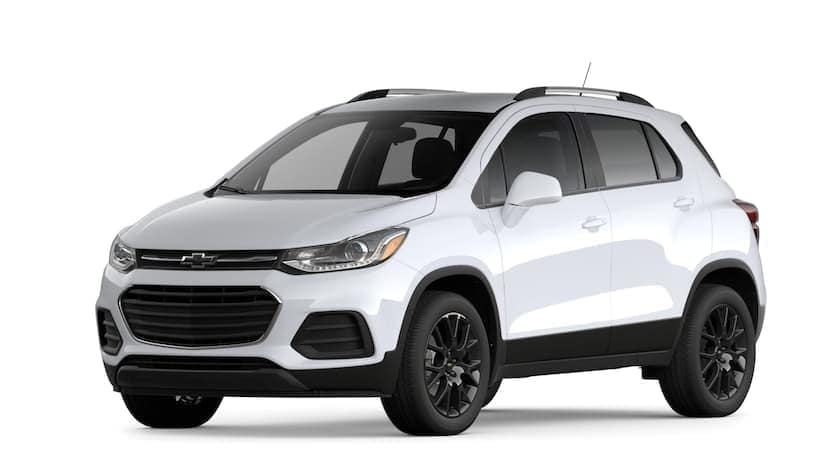 A white 2021 Chevy Trax is angled left.