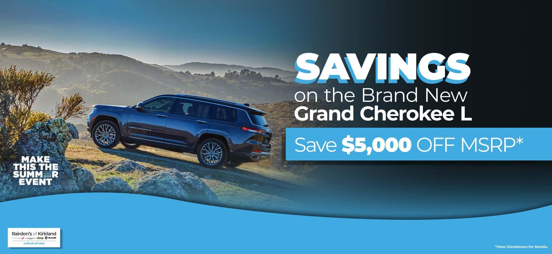 $5000 off MSRP Grand Cherokee L