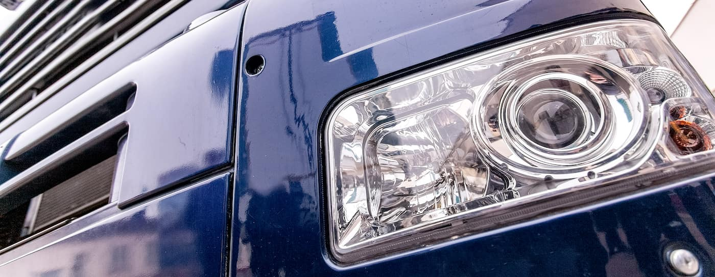 semi truck headlights close up