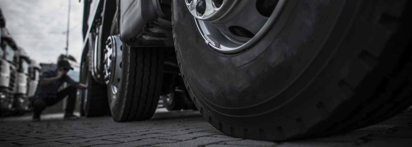 close up with semi truck tires