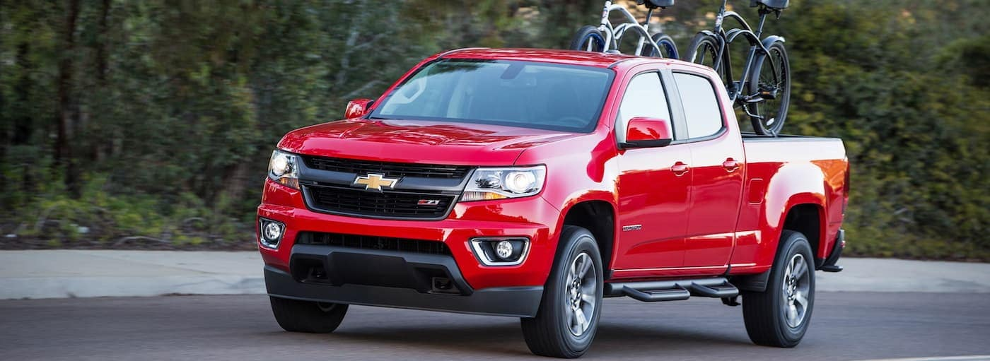 A 2019 Chevrolet Colorado is in Buford, GA with bikes in the bed.