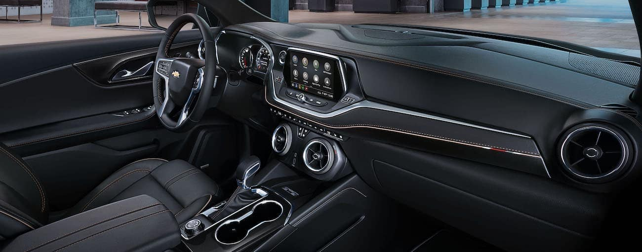 The black interior of a 2019 Chevy Blazer is shown.