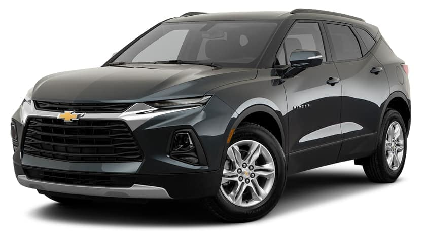 A black 2019 Chevy Blazer is facing left.