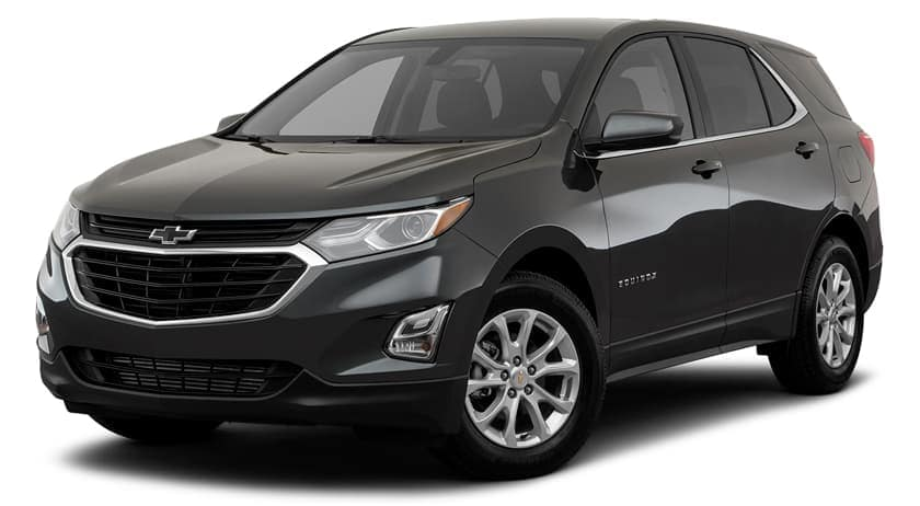 A black 2019 Chevy Equinox is facing left.