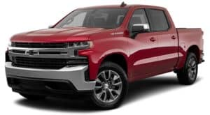 A red 2019 Chevy Silverado 1500 is facing left.