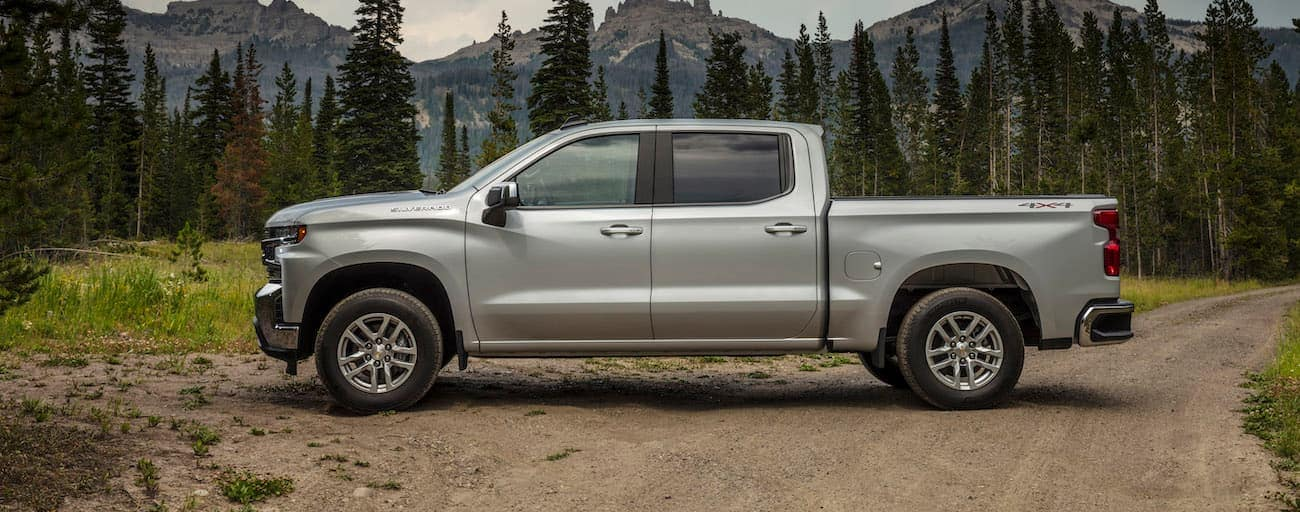 A silver 2019 Chevy Silverado 1500 is parked in front of pines and mountains.