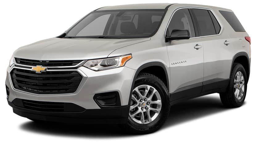 A silver 2019 Chevy Traverse is facing left.