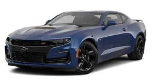 A blue 2019 Chevrolet Camaro in Buford, GA on white