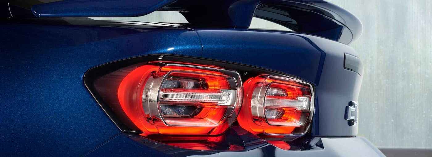 A closeup of the taillight on a 2019 Chevy Camaro is shown.