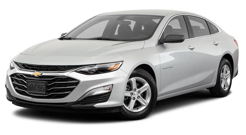 A silver 2019 Chevy Malibu is facing left.