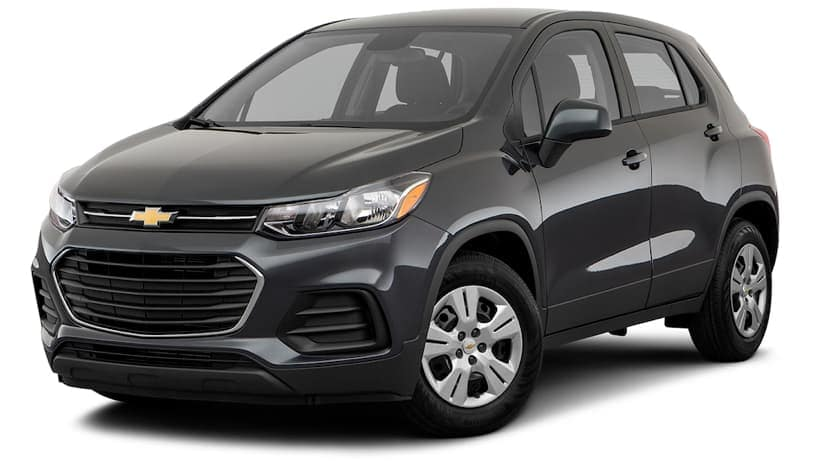 A black 2019 Chevy Trax is facing left.
