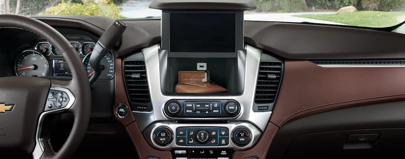 The dashboard of a 2020 Chevy Tahoe is shown.