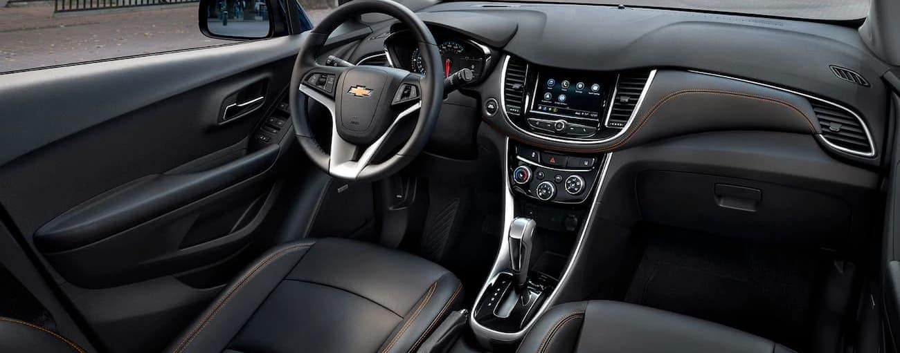 The black interior of the 2020 Chevy Trax is shown.