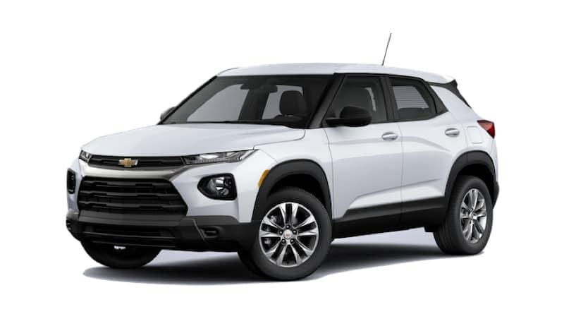 A white 2021 Chevy Trailblazer is facing left.