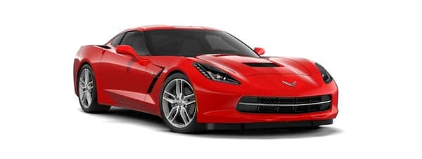 A red 2019 Chevy Corvette Stingray is facing right.