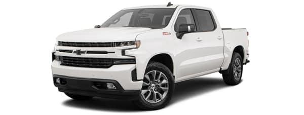 A white 2019 Chevy Silverado is facing left.