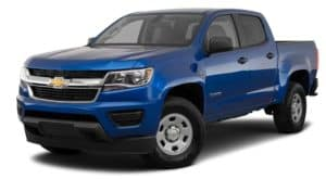 A blue 2020 Chevy Colorado is facing left.