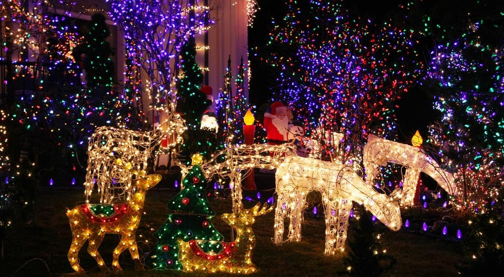 A display of colorful Christmas lights that you could see in Buford, GA.
