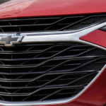 A view of the front end of a 2020 Chevy Malibu is shown.