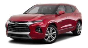 A red 2020 Chevy Blazer is facing left.