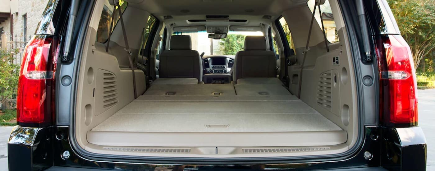 The cargo area of a 2019 Chevy Suburban is shown.