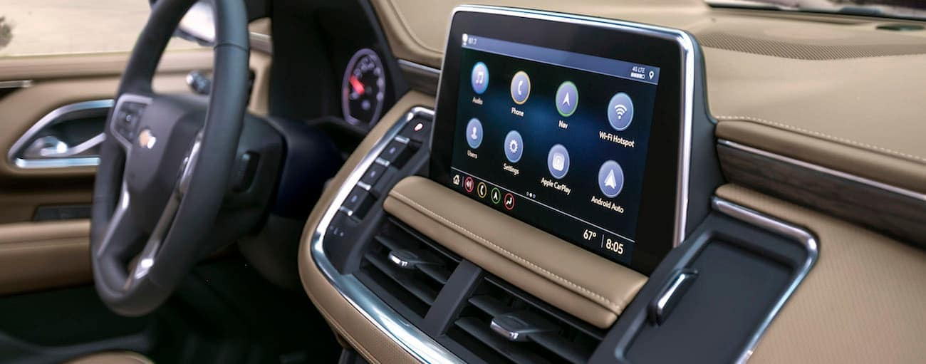 A close up of the infotinament system in a 2021 Suburban is shown.