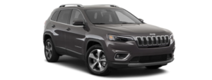 A gray 2020 Jeep Cherokee is angled right on a white background.