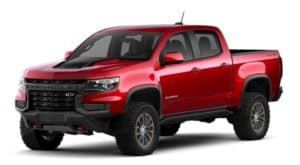 A red 2021 Chevy Colorado ZR2 is facing left.
