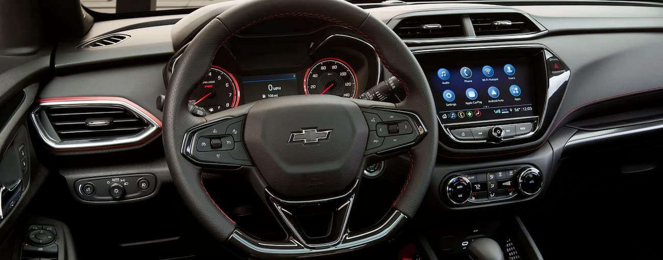 The dashboard and infotainment screen in a 2020 Chevy Trailblazer are shown.