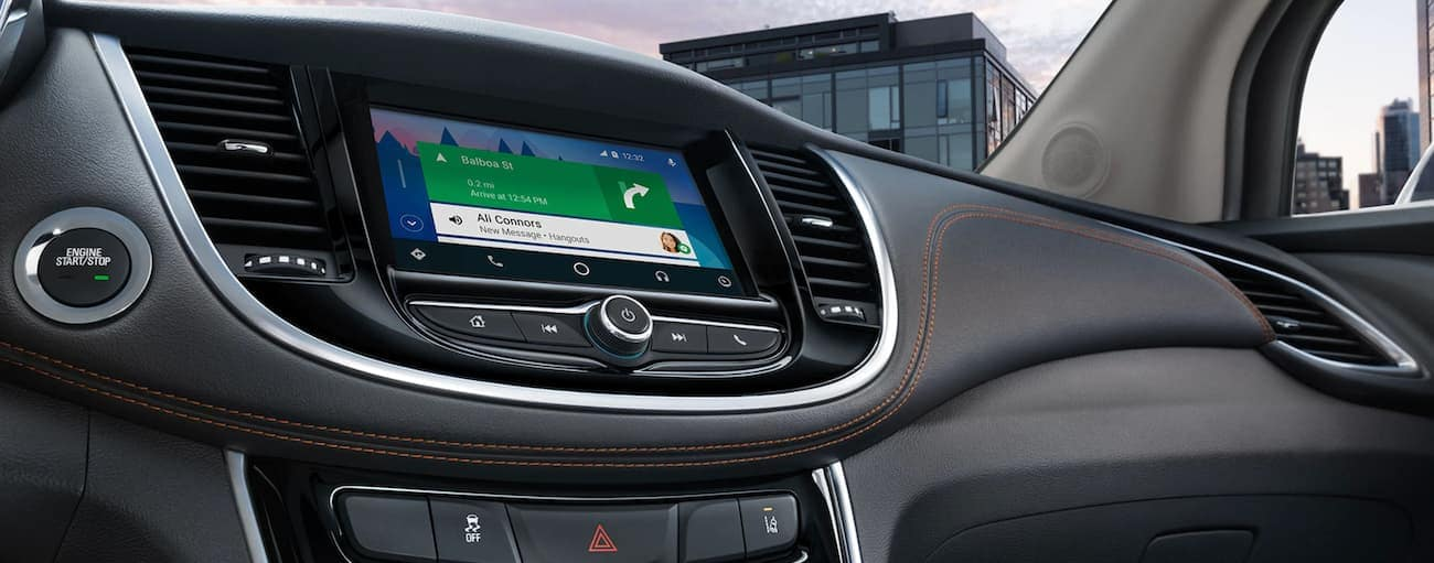 Navigation is shown on the touchscreen of a 2020 Chevy Trax.