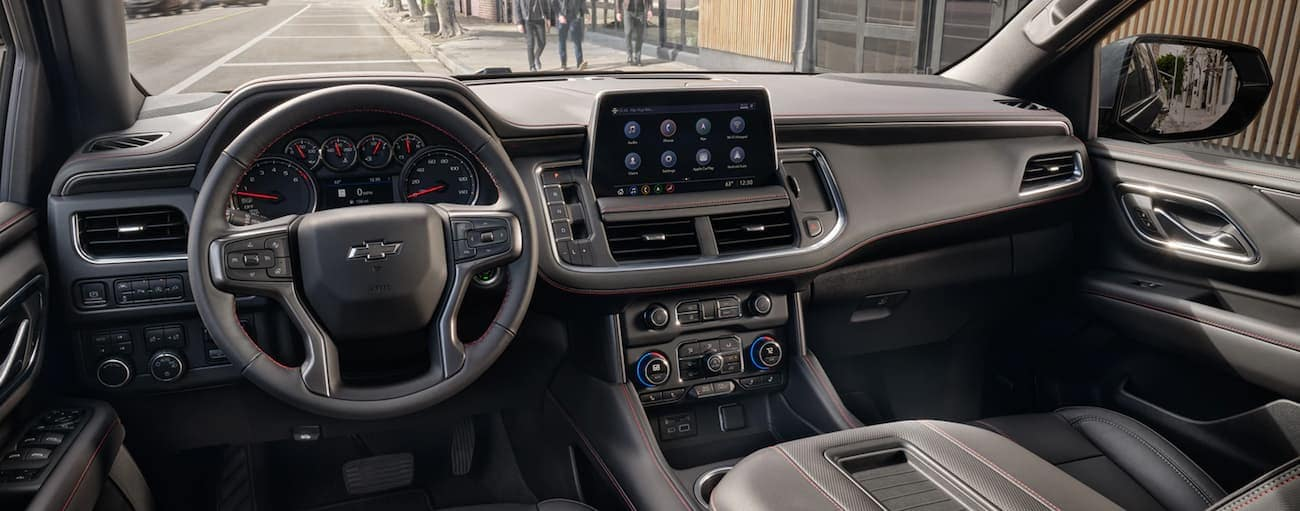 The infotainment screen is shown in a 2021 Chevy Tahoe, which is bigger when comparing the 2021 Chevy Tahoe vs 2020 Chevy Tahoe.