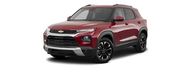 A red 2021 Chevy Trailblazer is angled left.